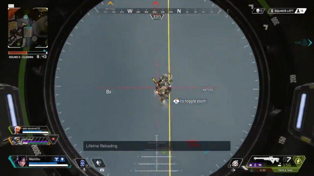 風船を使って逃げようとしている敵をトリプルテイクで撃ち落とす良ショット(エペ速)