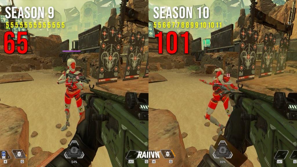 【APEX】シーズン9とシーズン10のコースティックのガスダメージ比較動画